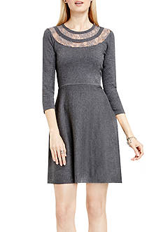 Vince Camuto Lace Yoke Flared Dress