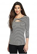 Vince Camuto Striped Cutout Top