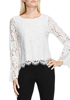 Vince Camuto Bell Sleeve Scallop Lace Blouse