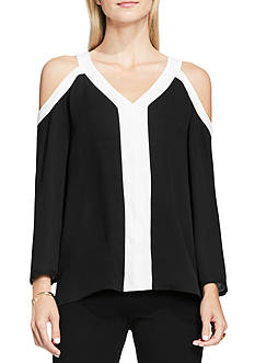 Vince Camuto Cold Shoulder Colorblocked Blouse