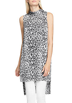 Vince Camuto Mock Neck Leopard Print Long Tunic