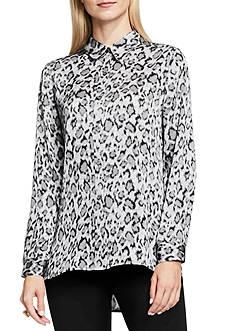 Vince Camuto Leopard Flurry Button Front Blouse