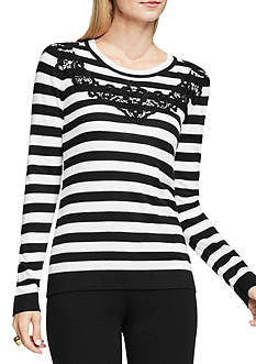 Vince Camuto Long Sleeve Stripe Sweater with Lace Applique