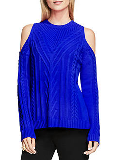 Vince Camuto Cold Shoulder Cable Knit Sweater