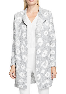 Vince Camuto Leopard Jacquard Open Front Cardigan