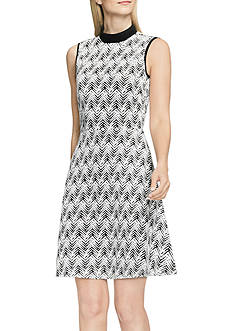 Vince Camuto Herringbone Jacquard Mock Neck Dress