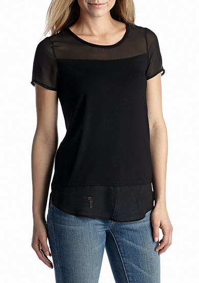 Vince Camuto Solid Knit Chiffon Trim Top