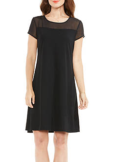 Vince Camuto Short Sleeve Sheer Yoke Top Fit and Flare Dress