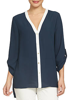 CHAUS Roll Tab Sleeve Blouse