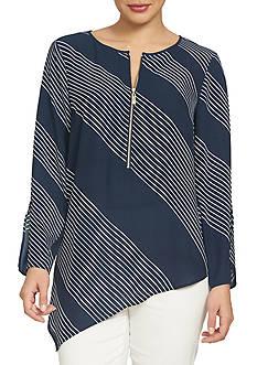 CHAUS Diagonal Striped Blouse