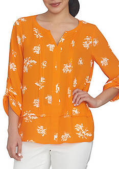CHAUS Roll Tab Floral Pin Tuck Blouse