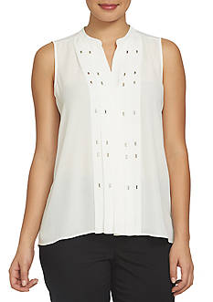 CHAUS Sleeveless Pin Tucked Blouse