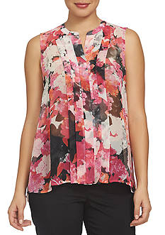 CHAUS Sleeveless Floral Print Top