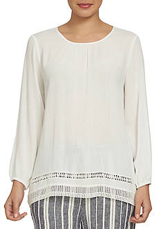 CHAUS Laced Trim Blouse