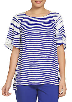 CHAUS Ink Plateau Striped Blouse