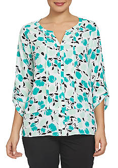 CHAUS Roll Tab Split Neck Floral Pintuck Blouse