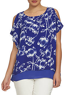 CHAUS Cold Shoulder Printed Double Layer Blouse