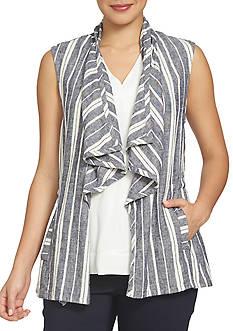 CHAUS Striped Linen Vest
