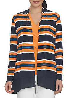 CHAUS Striped Knit Cardigan