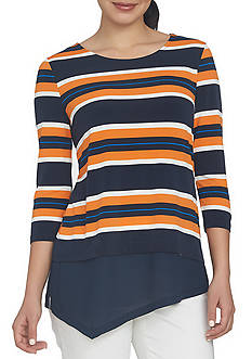 CHAUS Graphic Striped Mixed Media Top