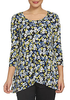 CHAUS 3/4 Sleeve Printed Asymmetrical Hem Top