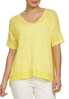 CHAUS Elbow Sleeve Marled Knit V Neck Top