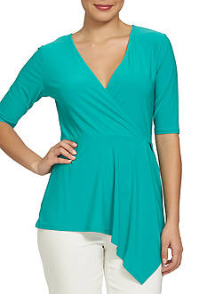 CHAUS Short Sleeve V Neck Asymmetrical Hem Top