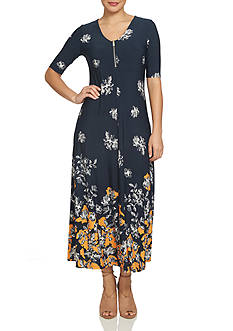 CHAUS Floral Border Midi Dress