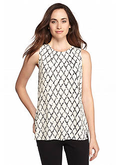CHAUS Sleeveless Diamond Print Blouse