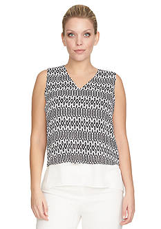 CHAUS Sleeveless Solid Double Layer Crepe Blouse