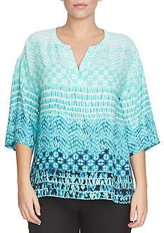 CHAUS Three Quarter Sleeve Tropical Array Split Neck Top