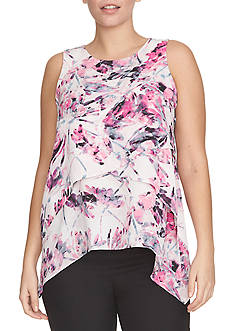 CHAUS Floral Tiered Top