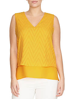CHAUS Sleeveless Tonal Chevron Double Layer Blouse