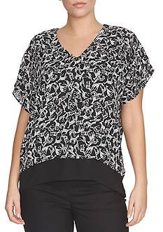 CHAUS Banded Bottom Print Shirt