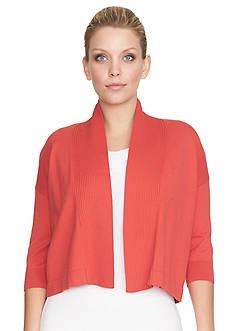 CHAUS Three Quarter Sleeve Cropped Sweater Cardigan