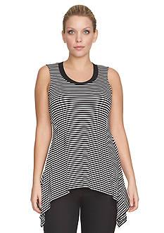 CHAUS Stripe Knit Tunic Top