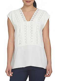 CHAUS High Low Blouse With Trim