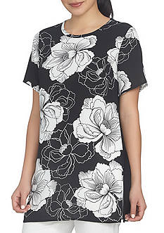 CHAUS Short Sleeve Peony Knit Back Top