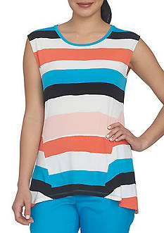 CHAUS Cap Sleeve Striped Top
