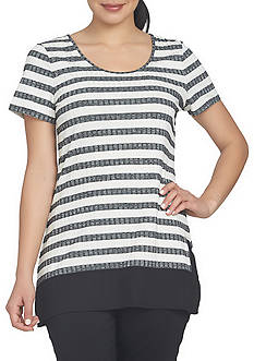 CHAUS Short Sleeve Striped Top
