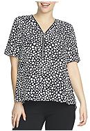 CHAUS Patterned V-Neck Zip Blouse