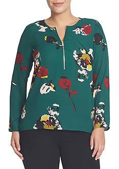 CHAUS Zip Front Portrait Floral Blouse