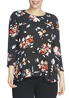 CHAUS Floral Ruffle Blouse