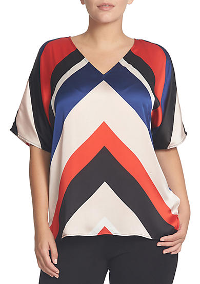 CHAUS Striped V-Neck Blouse