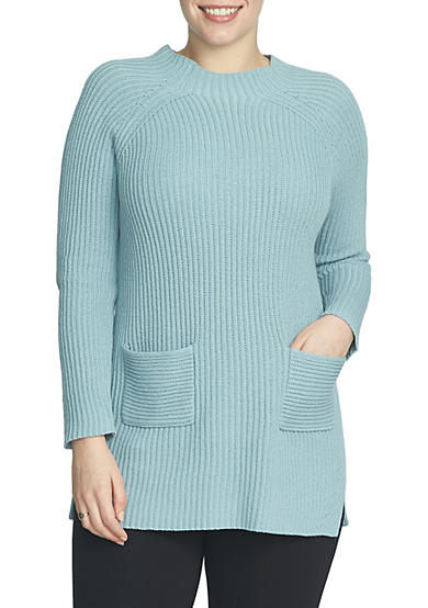 CHAUS Long Sleeve Mock Neck Sweater