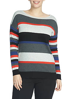 CHAUS Long Sleeve Stripe Sweater