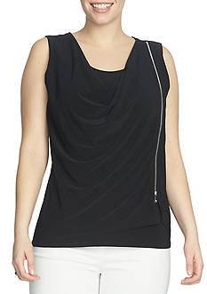 CHAUS Sleeveless Drape Zipper Top