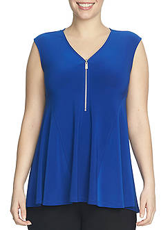 CHAUS Sleeveless V-Neck Zip Blouse