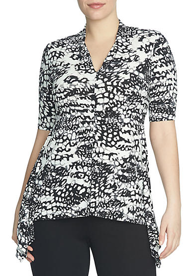 CHAUS Printed V-Neck Top
