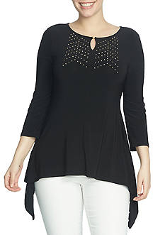 CHAUS Embellished Keyhole Neck Top